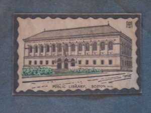 An old postcard of the Boston Public Library